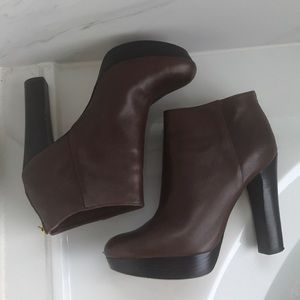 Michael kors expresso brown leather booties